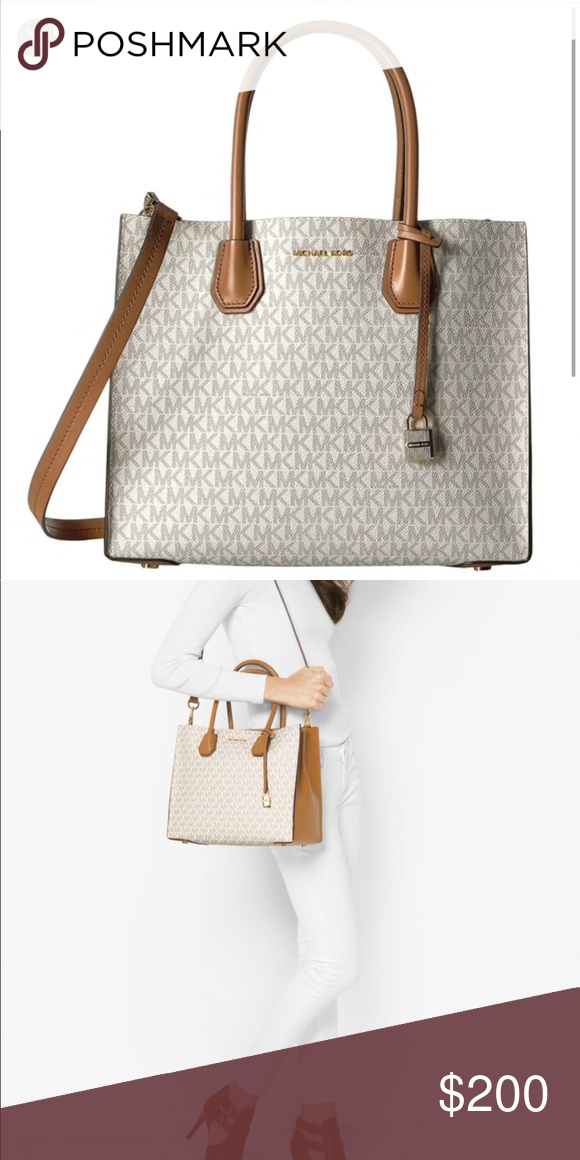 d06f9dc0b60d Authentic Michael Kors large Mercer tote 👜 Vanilla color with mk logo,  barely used. Spacious with multiple zippers. Excellent condition!