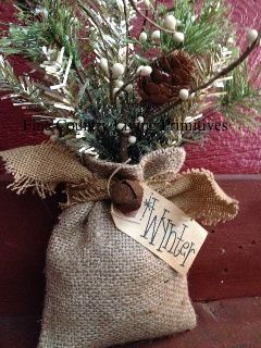 Vintage inspired wynter burlap sack christmas and Burlap bag decorating ideas