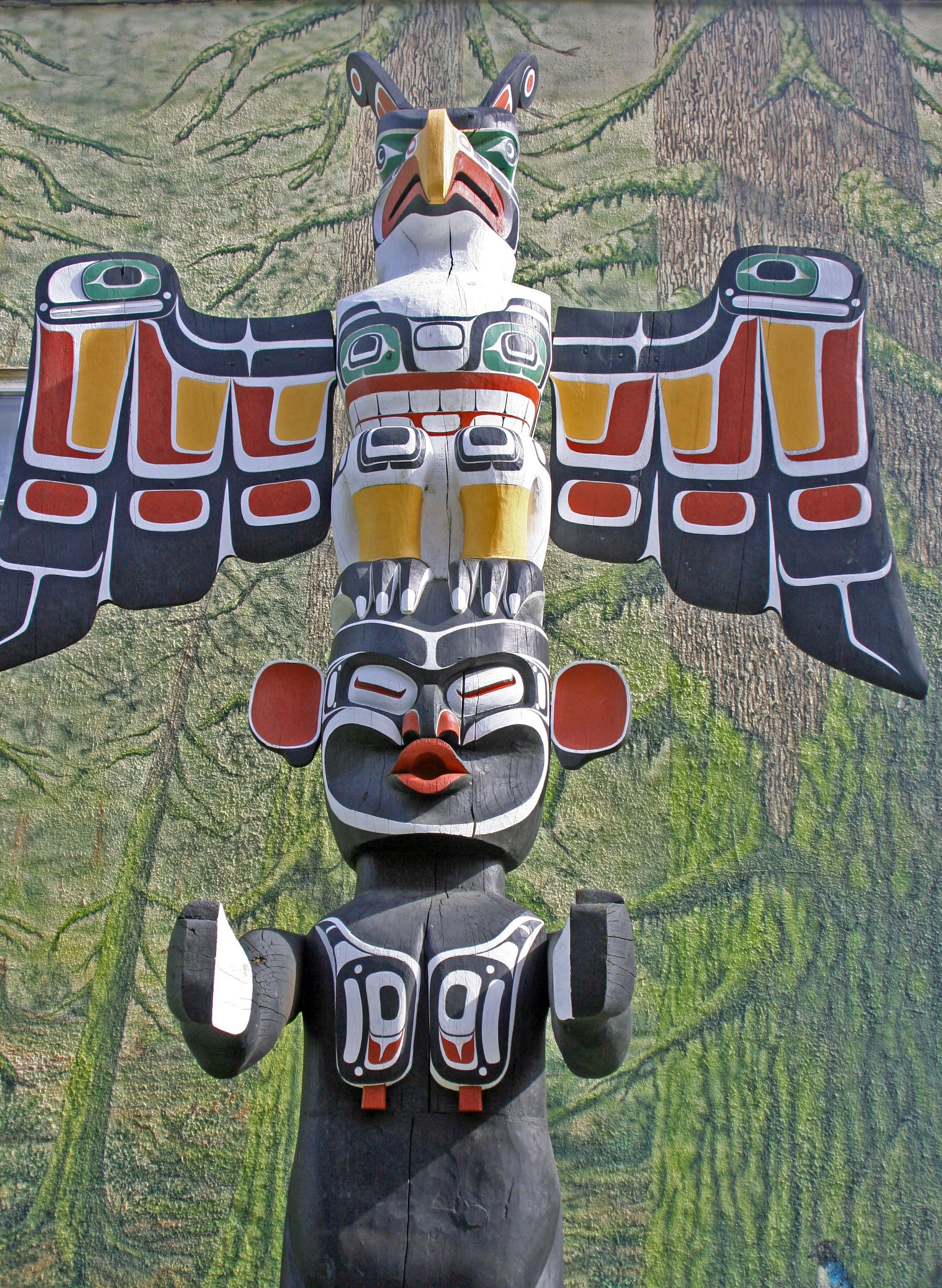 Thunderbird And Wild Woman Of The Woods Totem Pole In