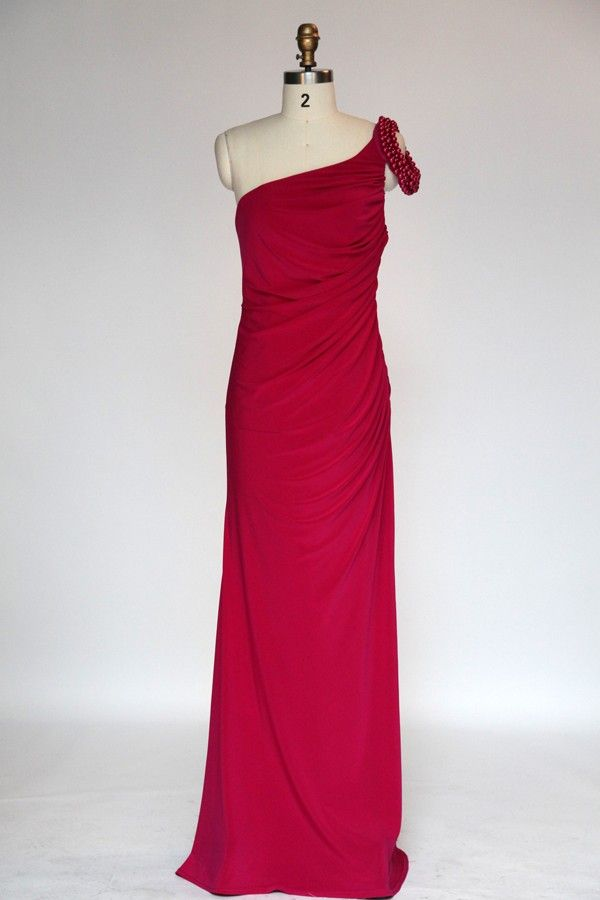 Simple Fuchsia One Shoulder Column Satin Evening Dress JSLD0164