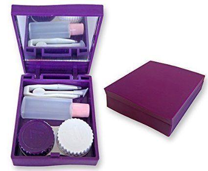 Kontaktlinsen Reise Kit Box Violett Spiegel Pinzette Losung
