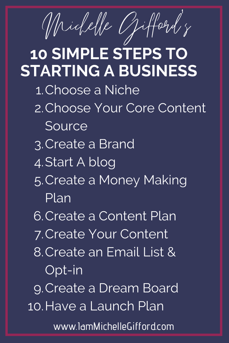 My 10 Simple Steps To Starting A Business Michelle Gifford Creative Starting A Business Online Business Marketing Starting Your Own Business