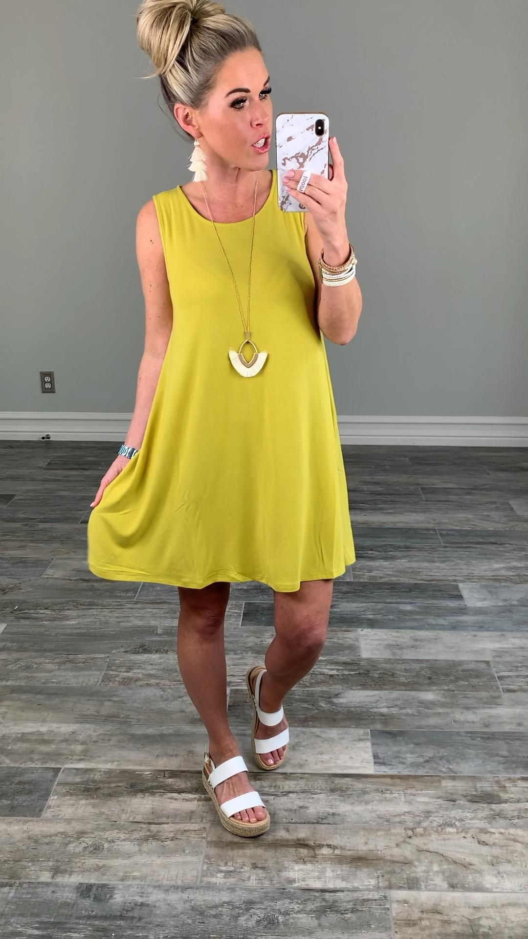 Basic Pocket Tank Dress - Pear – privityboutique -   style Spring casual
