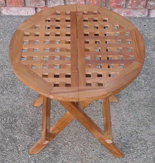 Round Checkerboard Teak Table