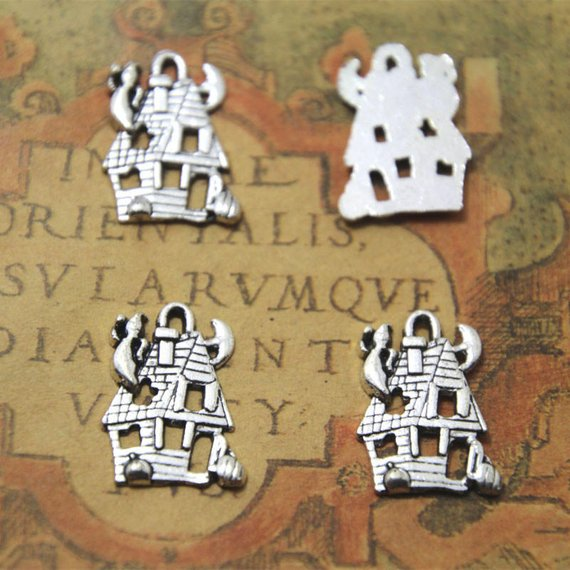 silver haunted house pendants 24x19mm 12pcs--Halloween haunted house charms