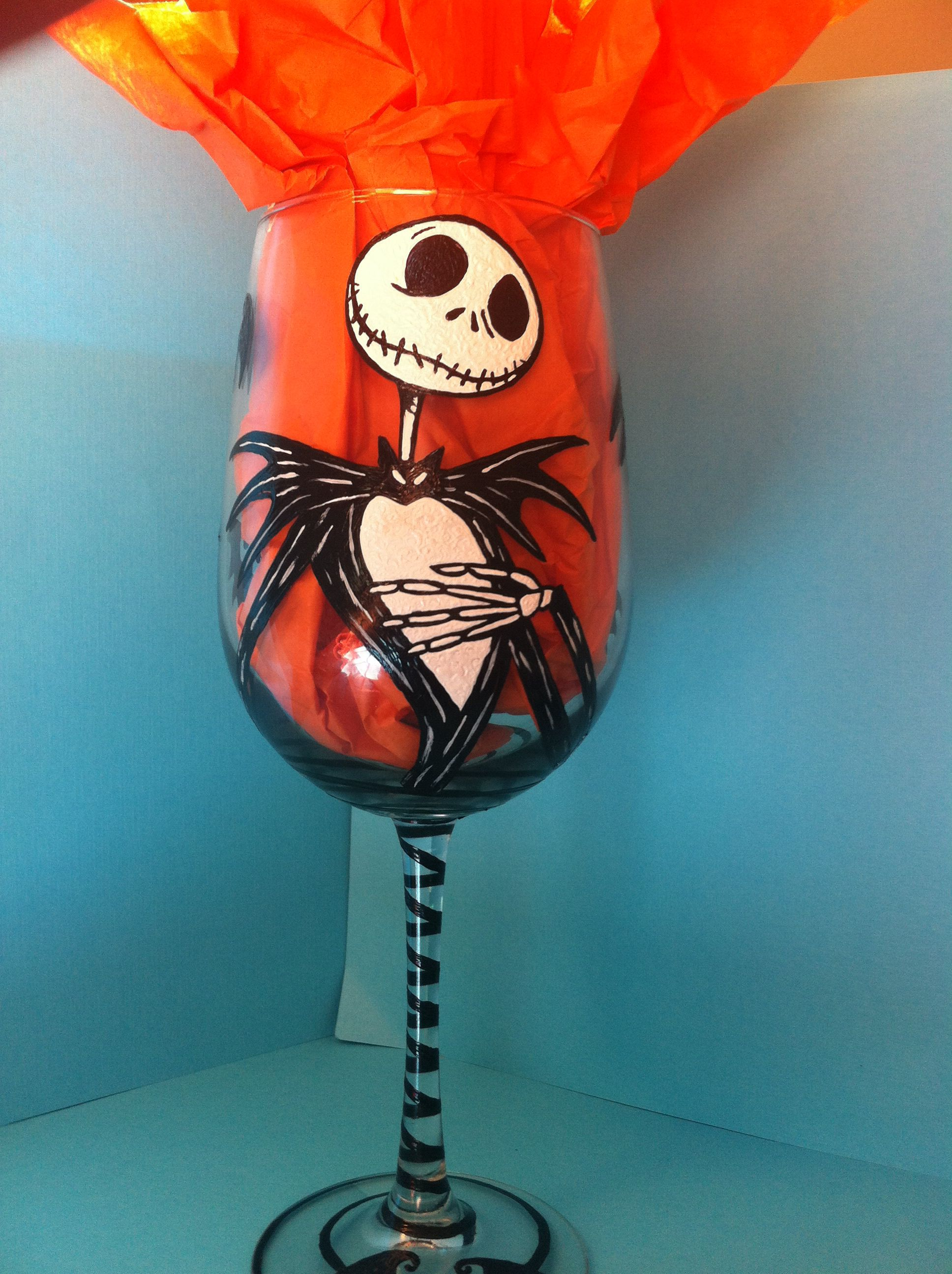 Jack Skellington From The Nightmare Before Christmas Hand Painted Glass By Allyson Prince Http Christmas Wine Glasses Painted Wine Glasses Painting Glassware