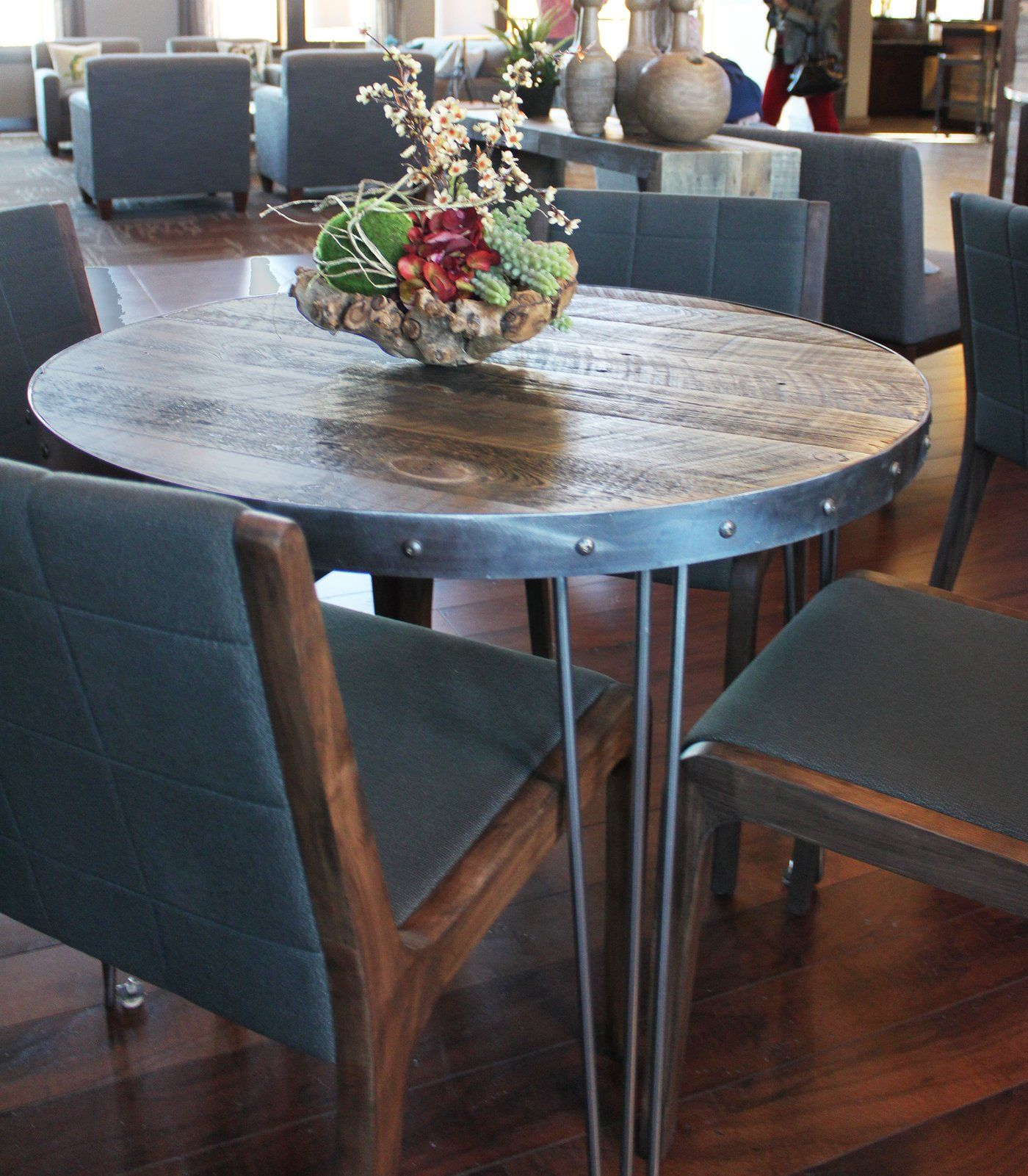 Round Wood And Metal Cafe And Bistro Table Reclaimed Wood Top