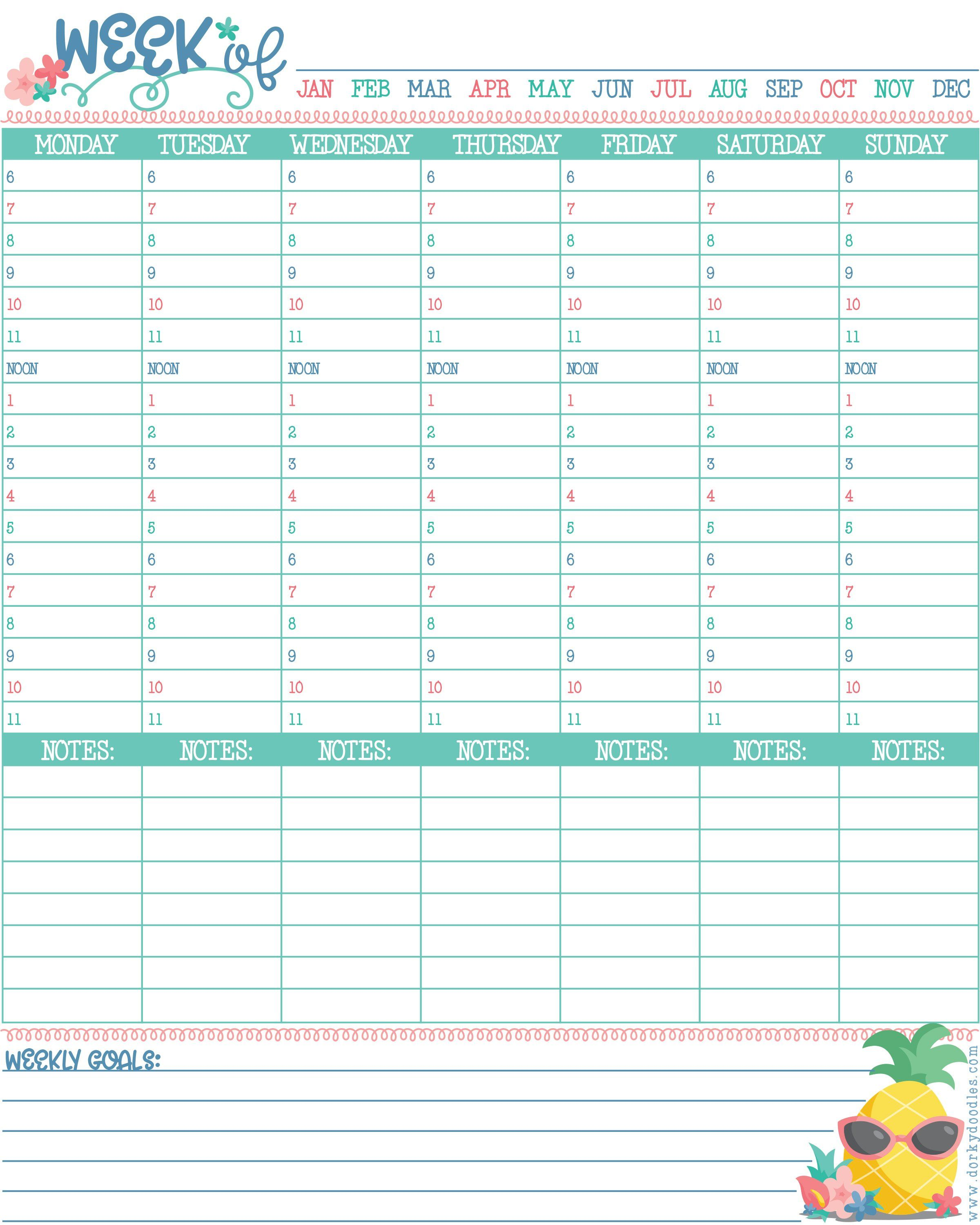 Hourly Planner Printable Planners Hourly Planner Printable