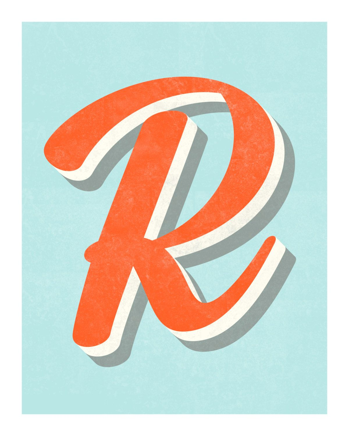 The Letter R Original Art Print Typography CindyGonzalezStudio