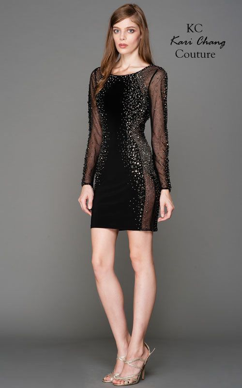 KC15738 Black Long Sleeve Cocktail Dress Amelia Collection by Kari Chang Couture