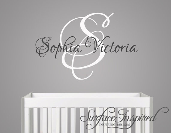 Name Wall Decal Monogram Wall Decals For Nursery Custom Wall - Monogram wall decal for nursery
