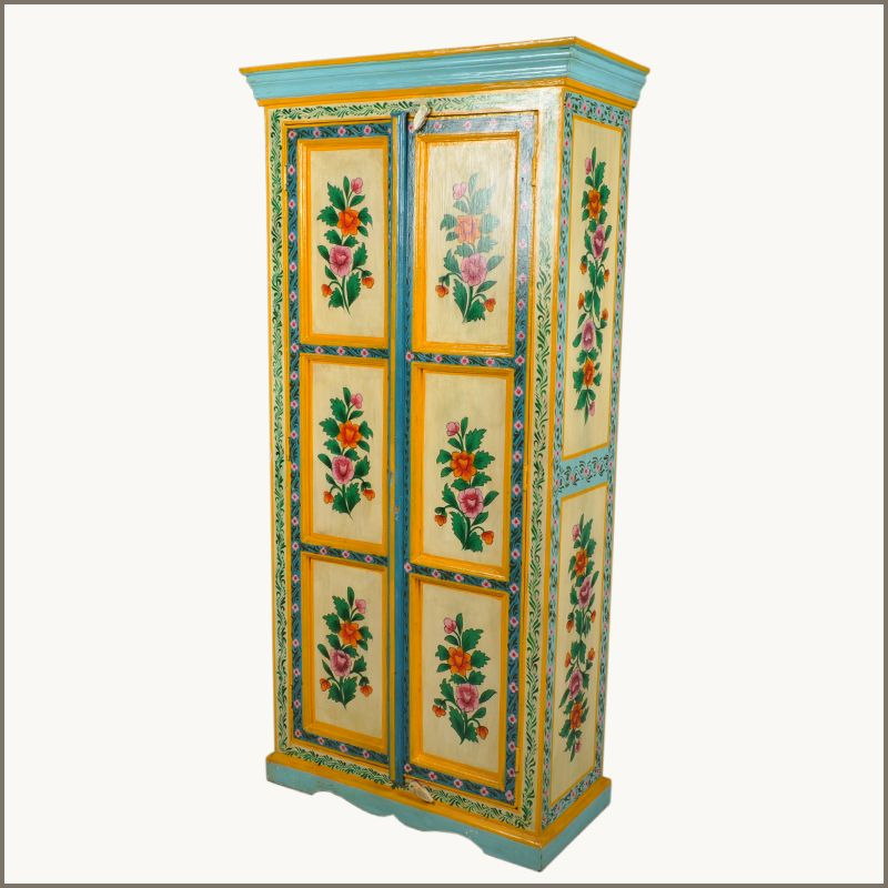 Our Oklahoma Farmhouse Floral Hand Painted Wardrobe Cabinet Is Built With  Solid Shesham Hardwood. This