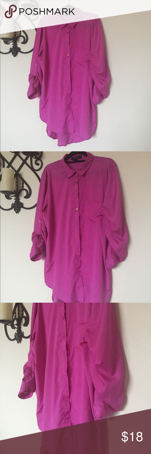 532416fb816 Ashley Stewart Button Down Rill Tab Tunic 14 16 Ashley Stewart Roll Tab  Sleeve Button Down Tunic Pink. Size 14 16. Loose fit. Tunic length.