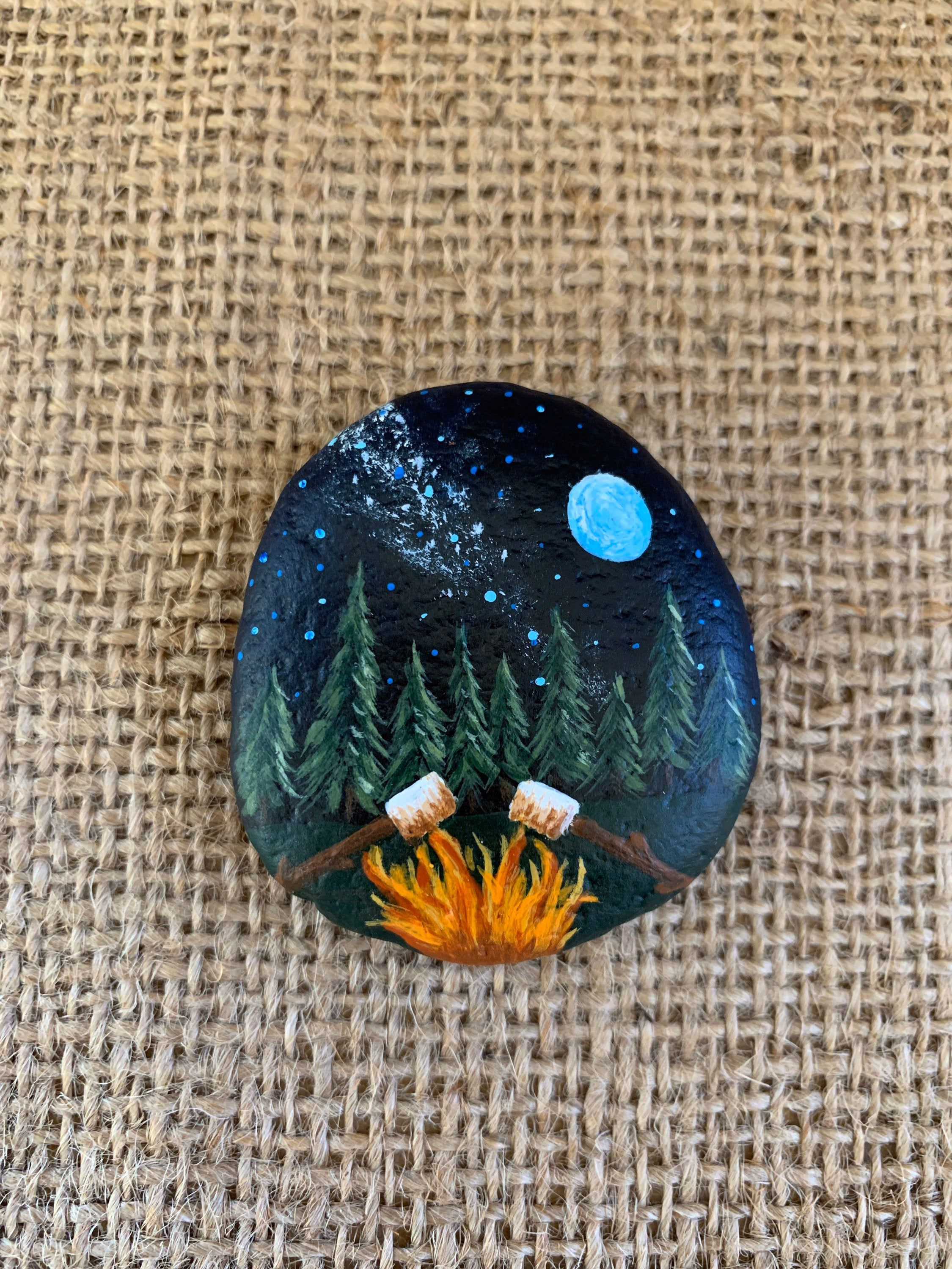 Painted Rock, Campfire, S'mores, Camping, Painted Stones, Hand Painted, Beach Rocks
