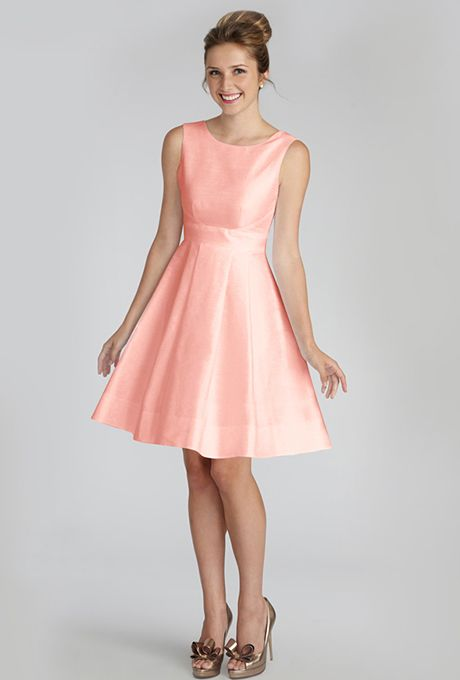 salmon bridesmaid reception dress option 1