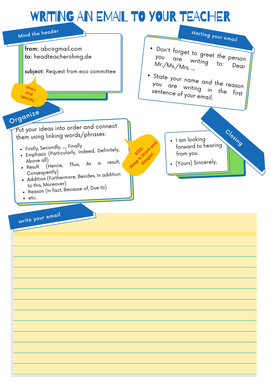 How to write an e-mail – Unterrichtsmaterial im Fach Englisch