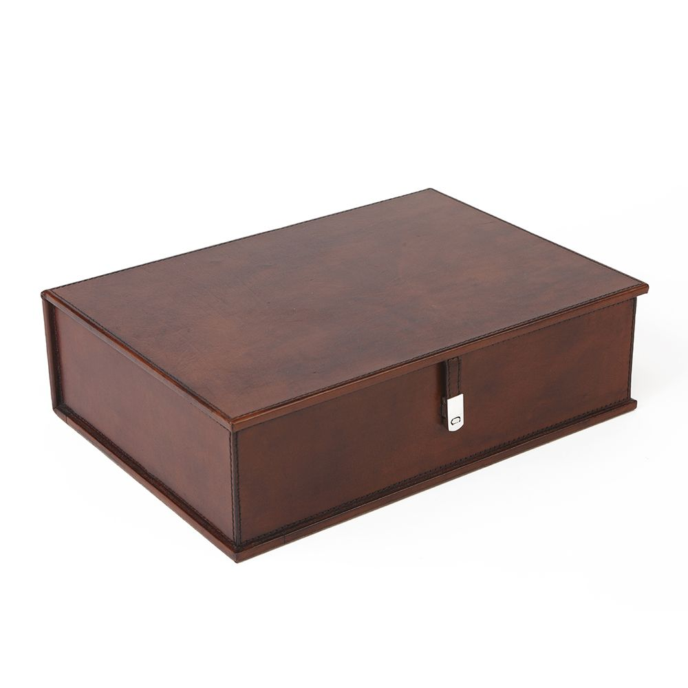 Leather Box File: Leather Desk Accessories : Life Of Riley