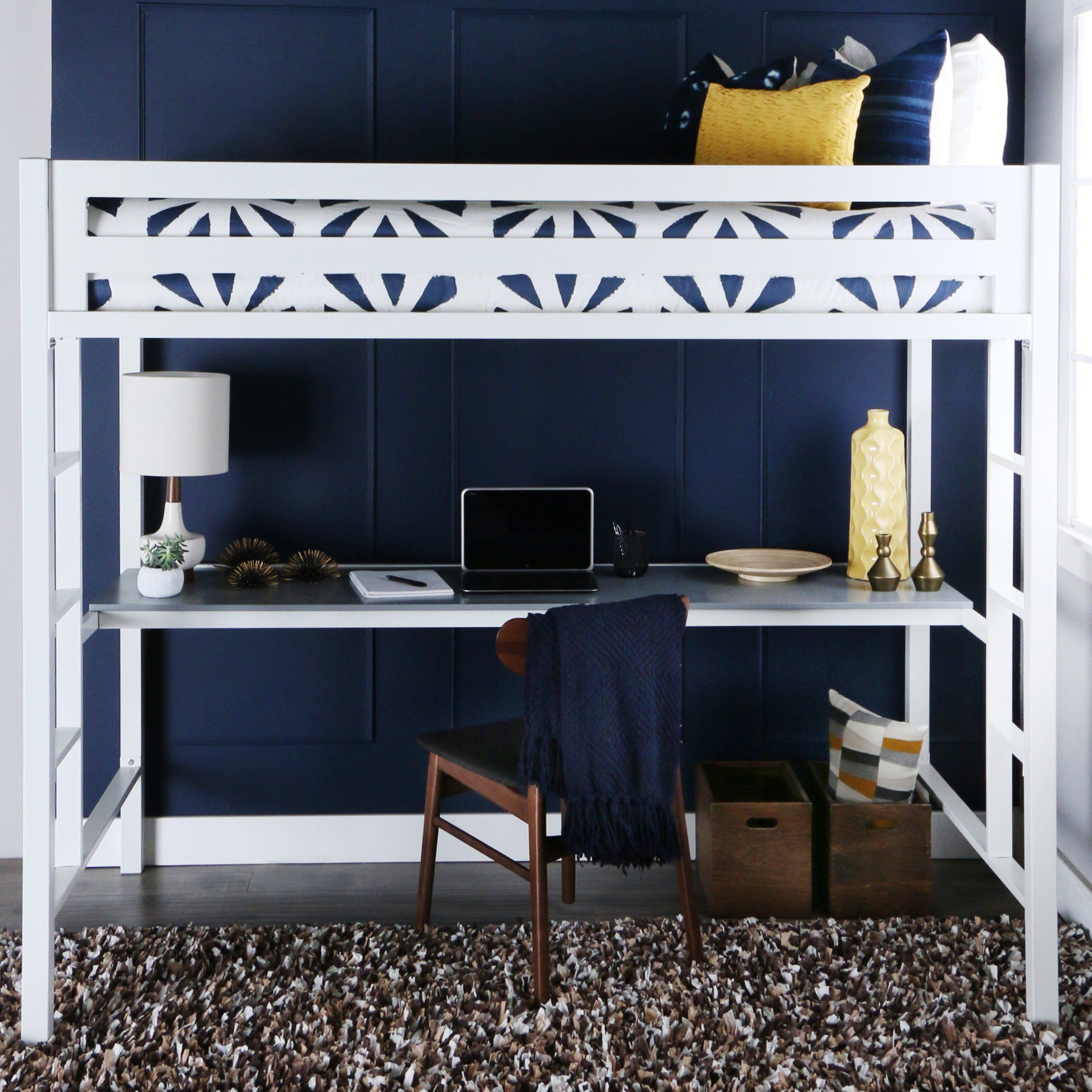 Loft bed with desk pottery barn  Bentley Twin over Metal Loft Bed with Workstation  White by Walker