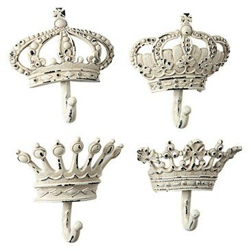 Check out this item at One Kings Lane! Asst. of 4 Crown Wall Hooks, White