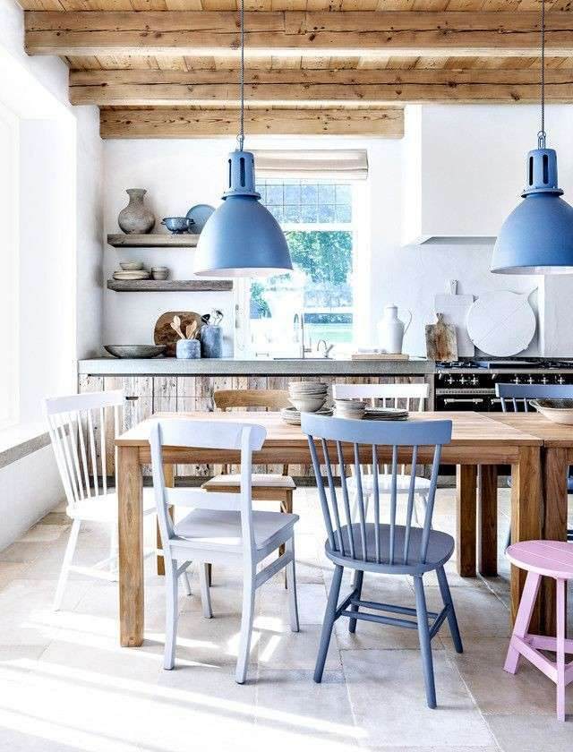 Arredare una cucina al mare nel 2019 idee arredo vigas for Sedie blu cucina