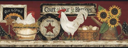 New Primitive Country Farmhouse RISE U0026 SHINE CHICKEN Rooster Wallpaper  Border