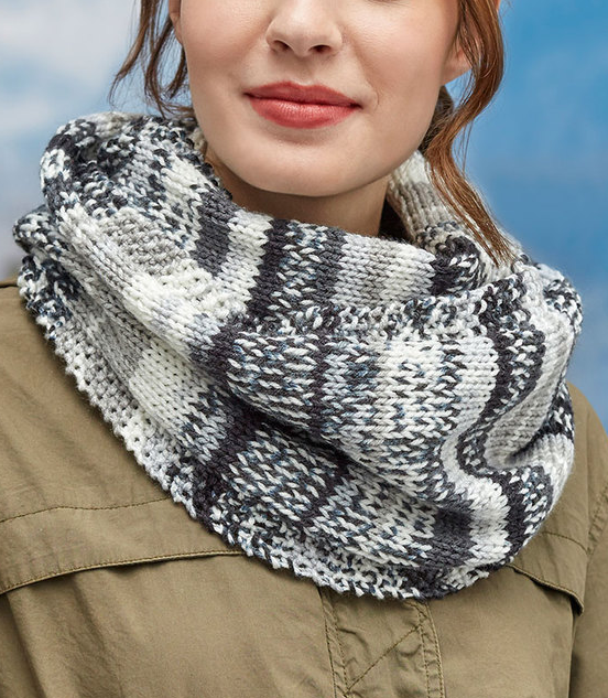 Free Knitting Pattern For Easy Faux Fair Isle Knit Cowl Easy