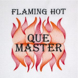 Flaming Hot Q Master 5x7 Flame Bbq Man S Embroidery Design Cookout