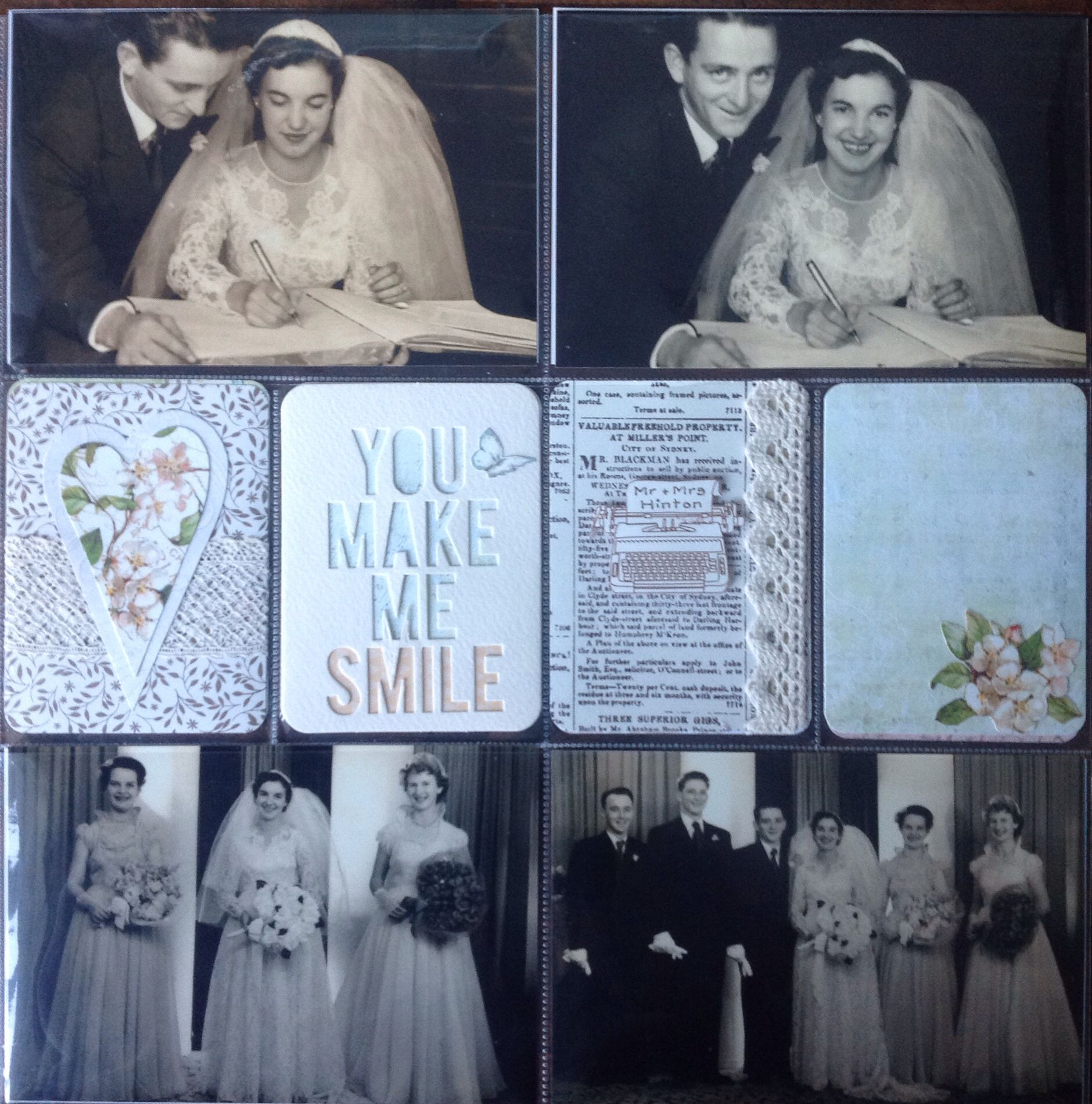 Heritage wedding Project Life layout.. #Heiddi Swapp cutout card. Handmade cards by Michele Hinton