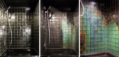 Temperature Dependent Color Changing Tiles In Shower How Cool Is This From Moving