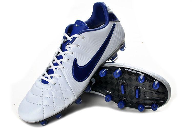 Chaussures de foot nike Tiempo Legend IV Elite FG Blanc Bleu pas cher