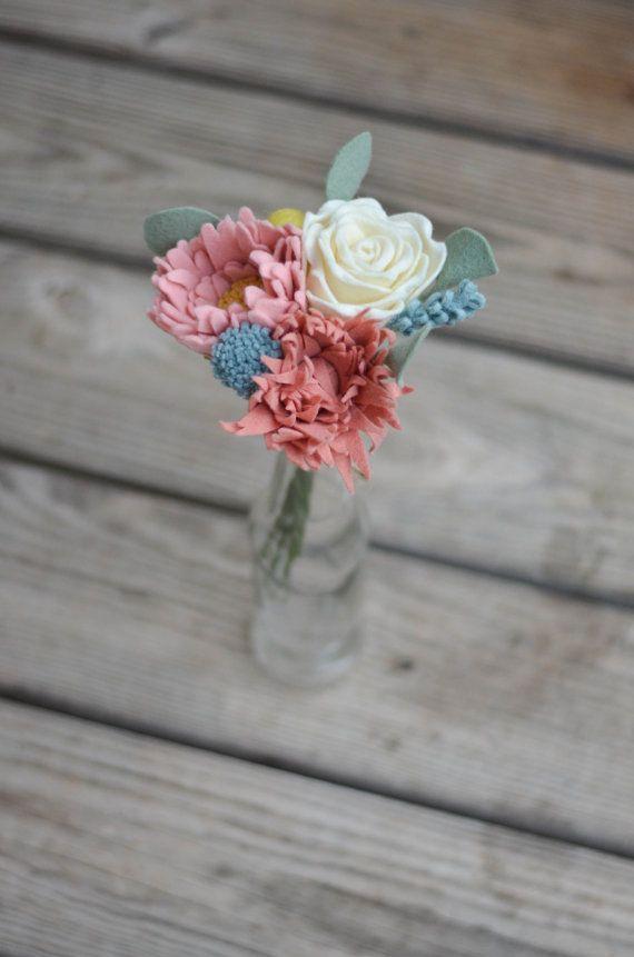 Rose, Peony, and Mum Felt Flower Bouquet / Ready-To-Ship Handmade Merino Wool-Blend Felt Forever Flowers Floral Alternative