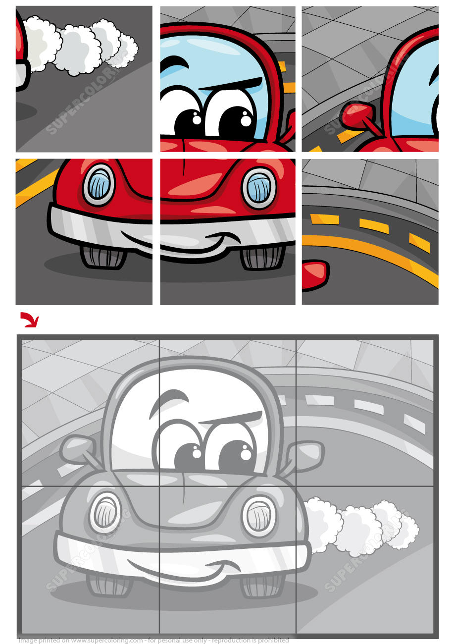 Jigsaw Puzzle with a Cartoon Car | Free Printable Puzzle Games