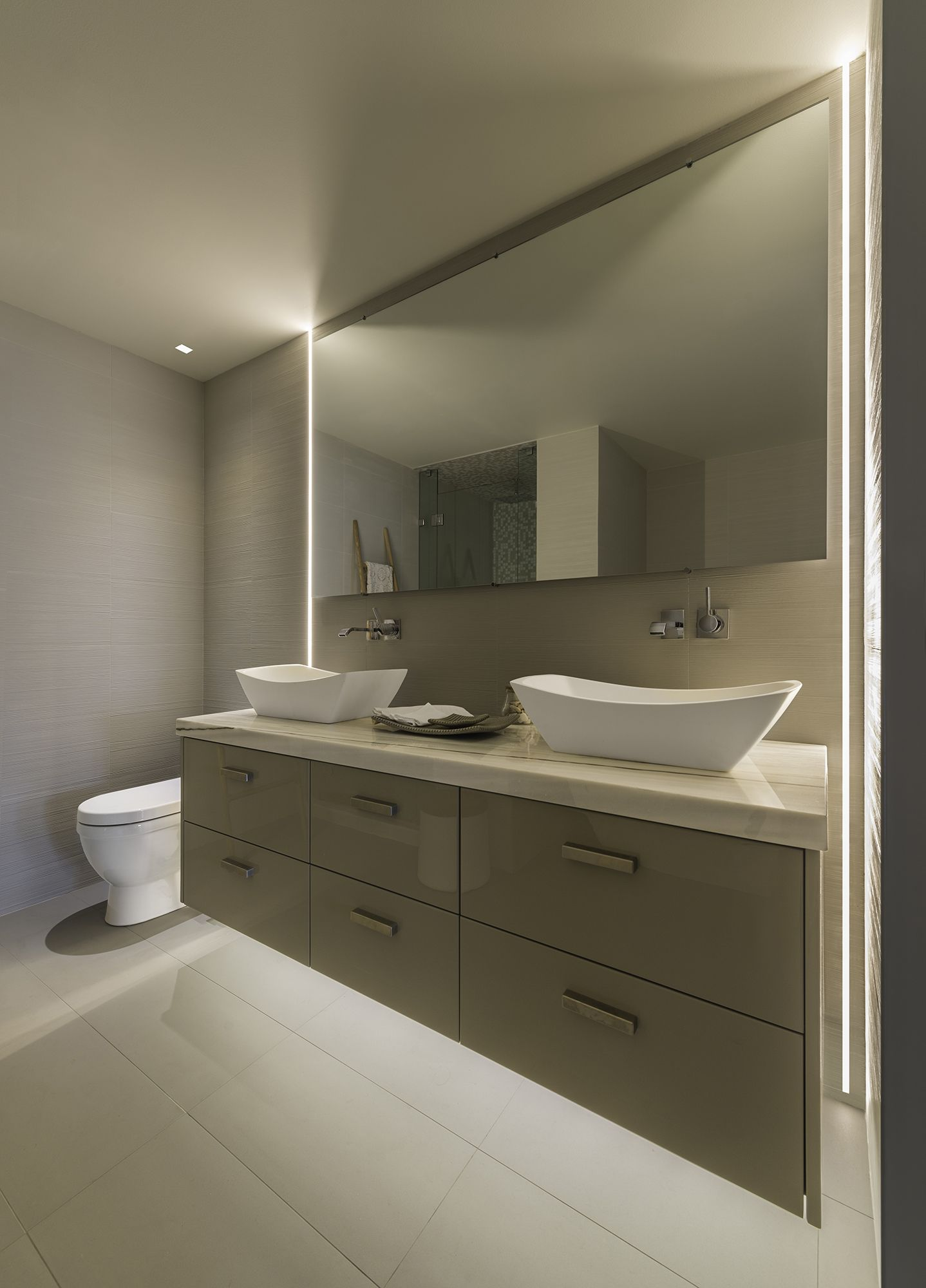 Bathroom mirrors with led lights - No Room Above Bathroom Mirror Modern Led Lighting For The Bathroom Truline