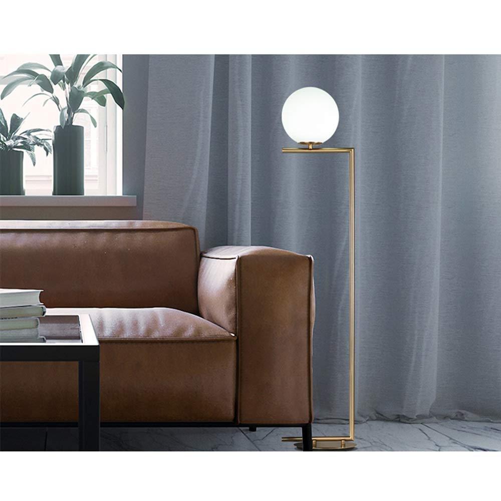 Nordic Modern Geborsteld Goud Staande Lamp Ronde Bol Glas