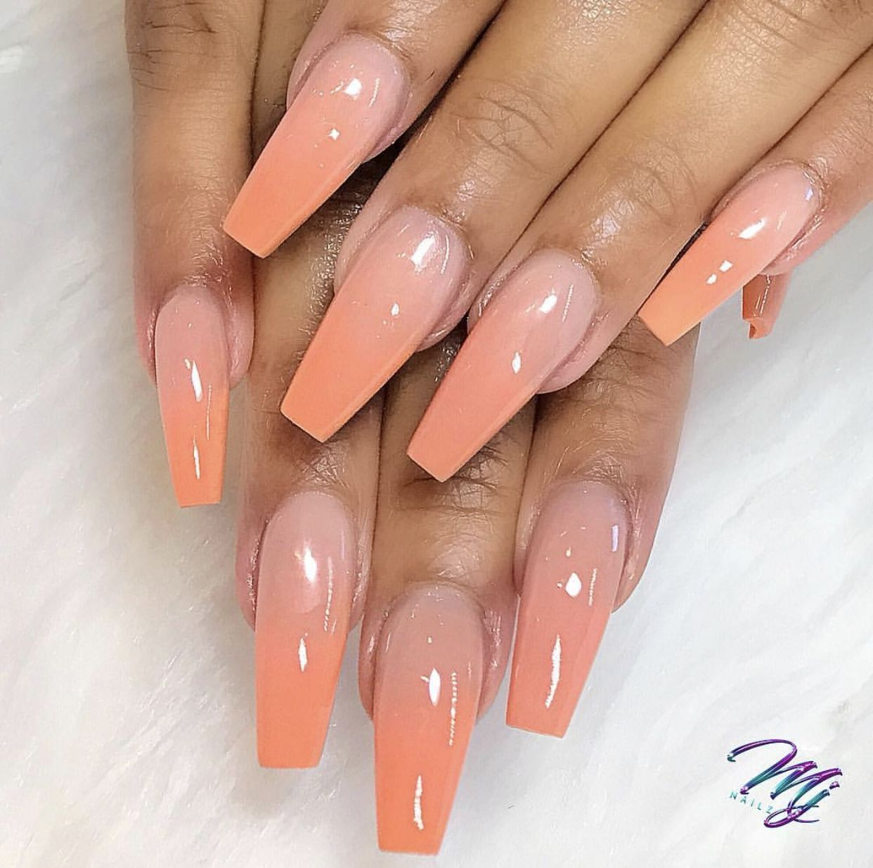 Pin By Berenice On Nailssss Peach Acrylic Nails Peach Nails Orange Ombre Nails