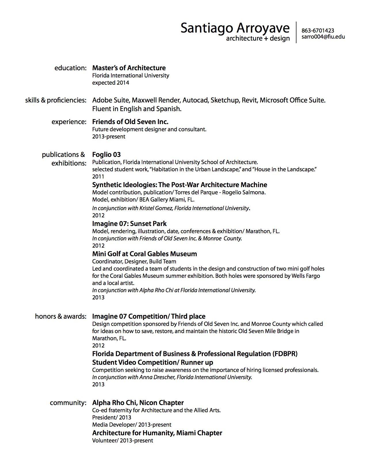 Fall 2013 Curriculum Vitae