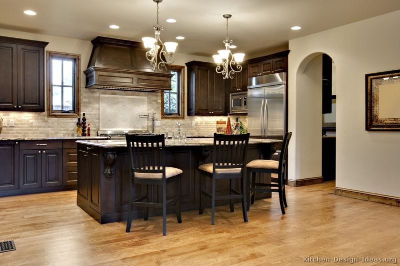 Dark Wood Kitchen Ideas Of Kitchens Traditional