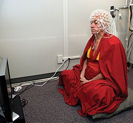 Buddhist monk Matthieu Ricard sits in a soundproof room and prepares for an EEG test at the University of Wisconsin-Madison.