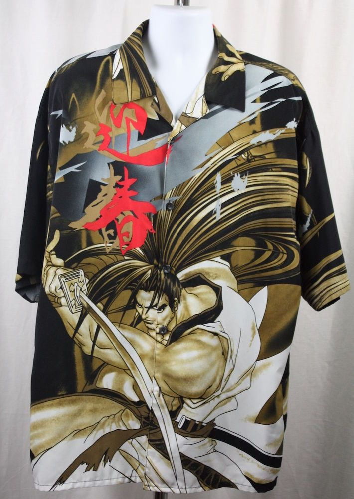 a4bca476 Regal Wear Mens Haohmaru Samurai Showdown Short Sleeve Polyester Shirt Size  XXL #RegalWear #ButtonFront