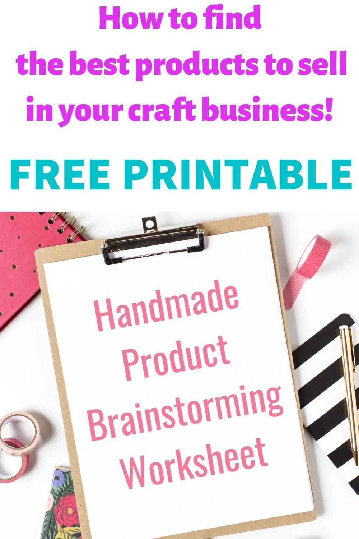 Free Handmade Product Brainstorming Worksheet Cassie