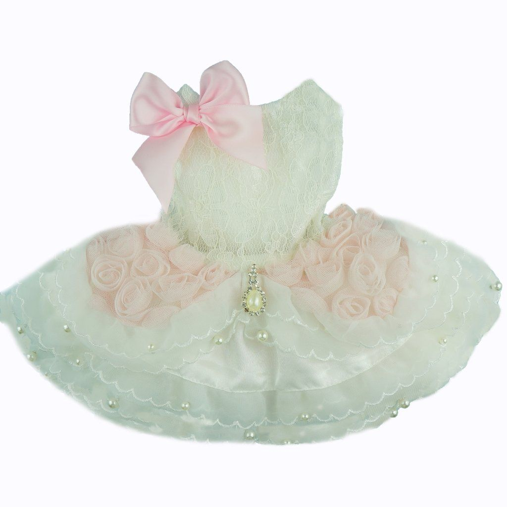 Fitwarm high quality luxury pink rose dog wedding dress tutu pet fitwarm high quality luxury pink rose dog wedding dress tutu pet bride clothes apparel ombrellifo Image collections