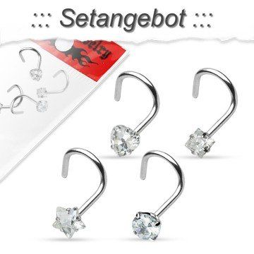 Nasenpiercing 4er Set Kristall