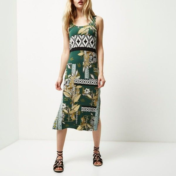 03f8c713c57d7 River Island Green floral print maxi dress (£33) ❤ liked on Polyvore  featuring dresses