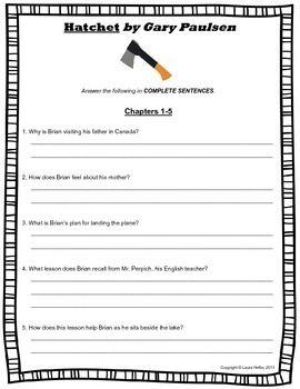 Hatchet By Gary Paulsen Comprehension Questions Common Core 4th 5th 6th Comprehension Questions Gary Paulsen Teacher Favorite Things