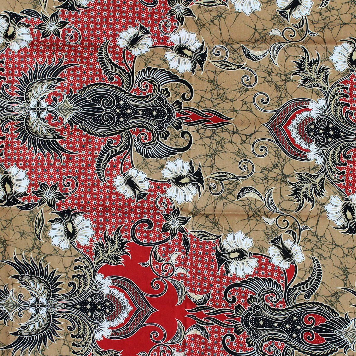 Vintage Red Thai Flowers Print , Traditional Thai Batik