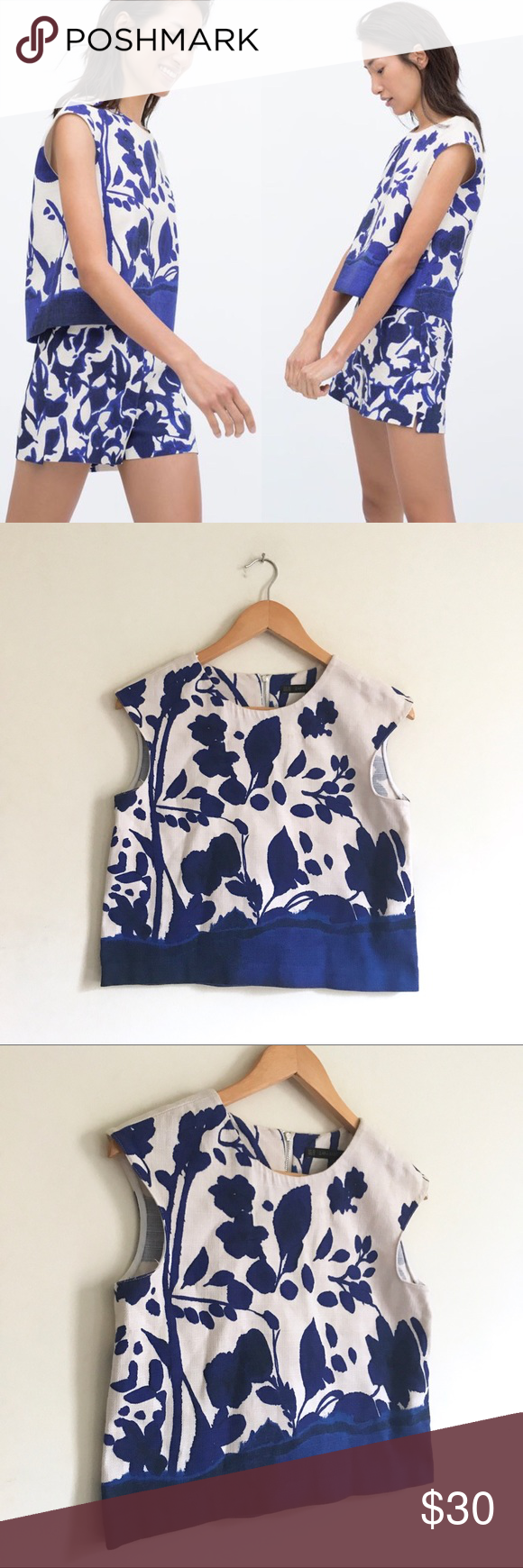 e2c59b924277f0 Zara Basic Blue Printed Structured Crop Top Structured crop top form Zara  Basic. Blue and