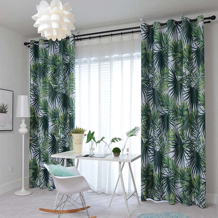 Green Leaf Curtains Blackout Jungle Pattern Drapes For