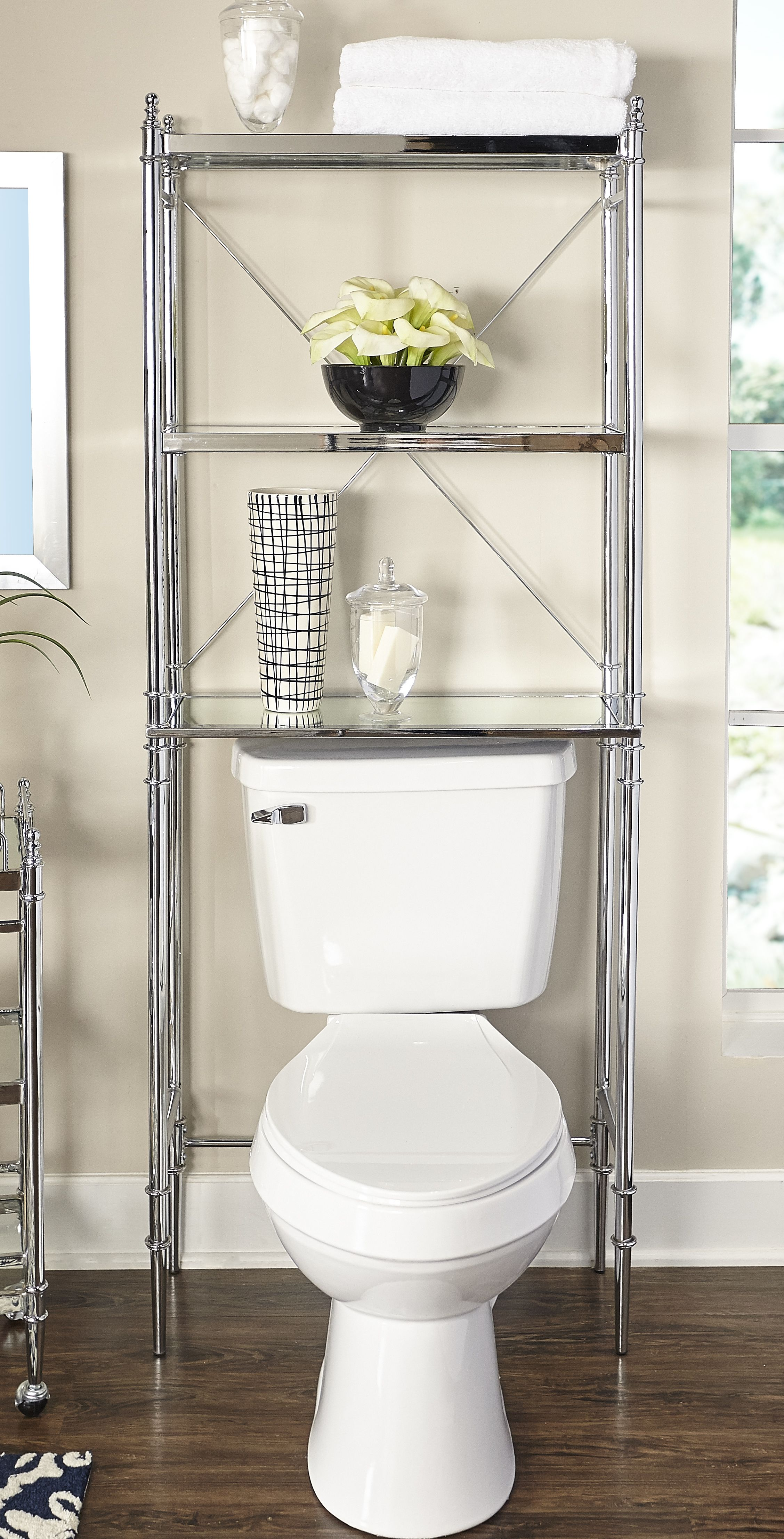 Linon Pinnacle Chrome And Glass Spacesaver Silver Toilet Storage Bathroom Shelves Over Toilet Shelves Over Toilet