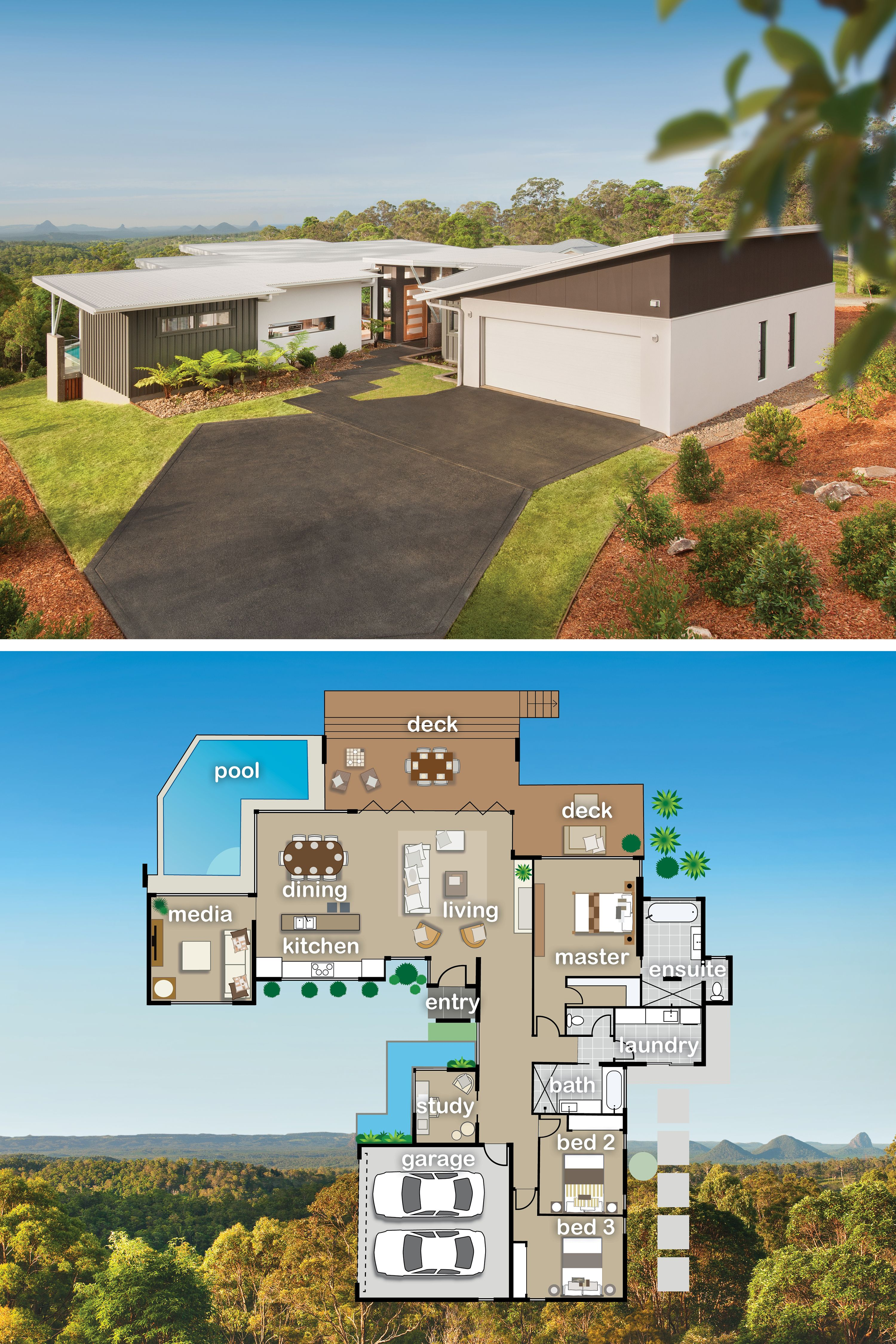 Floor Plan Designed To Maximize Views Off The Back Floorplan Sims House Plans Home Design Floor Plans Dream House Plans