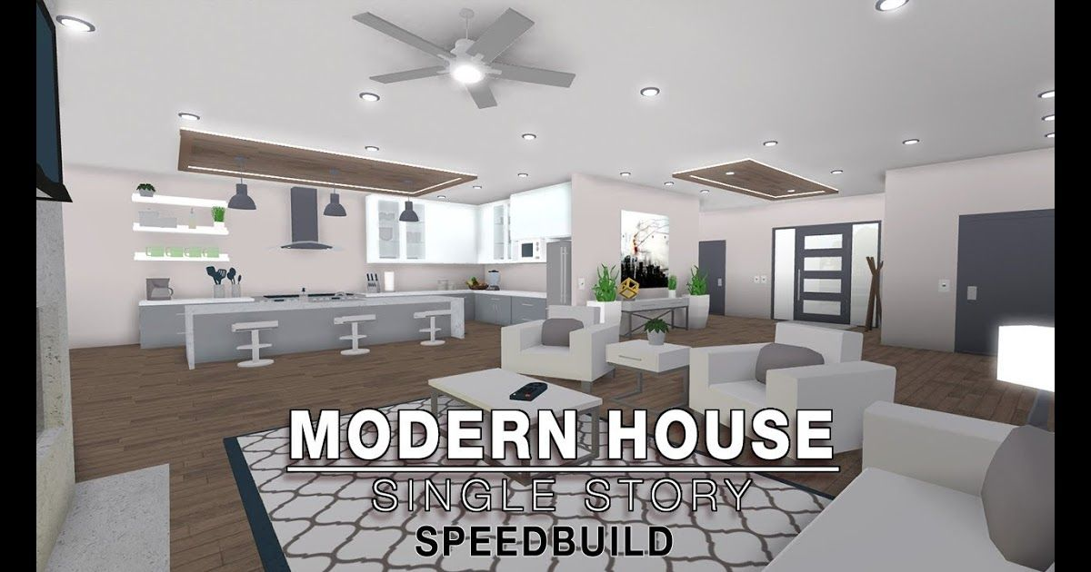Roblox Bloxburg Modern House Single Story Speedbuild Voice Intro Build You A House In Roblox Simple Bedroom Design Simple Interior Design Modern House Design